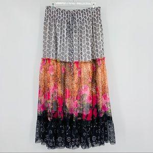Lapis Boho Multicolored Tiered Skirt